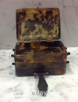 Antique Oriental Chinese Faux Tortoiseshell Cantilever Three Tier Jewelry Box
