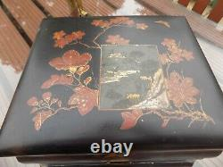 Antique Oriental Lacquer Games Card Box/ Ideal Jewellery Hand Painted On Stand
