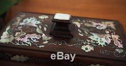 Antique Qing Chinese Shell Inlayed Jewelry Wooden Box Zitan Wood