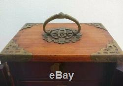 Antique Qing Dynasty Chinese Jewellery Box Cabinet Jade Panels Brass Bound