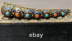 Antique Silver Chinese Coral Enamel Fingernail Guard Pin With Box