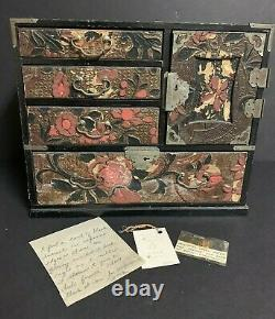 Antique VTG Wooden Asian Chinese Japanese Jewelry Chest Box withlocks10x12x7