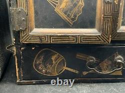 Antique Victorian Chinese / Japanese Jewellery Draws Cabinet Set Box