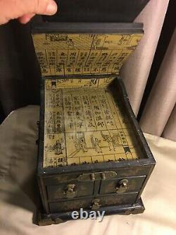 Antique/Vintage Black With Gold Images Chinese Jewelry Box With Mirror