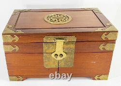 Antique Vintage Chinese Rosewood Huali Jewelry Silver Box Chest Hardwood