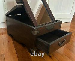 Antique Vintage Chinese Rosewood Jewelry Trinket Box Chest w Flip Up Mirror -12