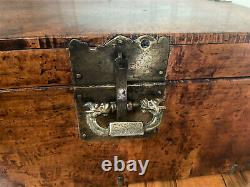 Antique Vintage Chinese Wood & Brass Jewelry Trinket Box Chest with Dragon Lock