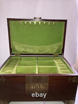 Antique Vintage Chinese Wooden Jewelry Box Chest Brass Etched