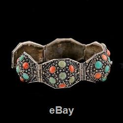 Antique Vintage Deco Chinese Sterling Silver Chinese Turquoise Coral Bracelet