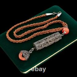 Antique Vintage Deco Sterling Silver Chinese Carnelian Prayer Box Necklace 46.5g