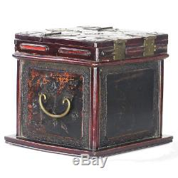 Antique Vintage Small Chinese Wood Jewelry Box W Stand Up Mirror & Carvings