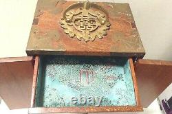 Antique Vtg Asian Chinese Wood, Brass & Jade Jewelry Box WithBlue Silk Lining 12.5