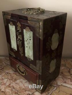 Antique Vtg Asian Chinese Wood, Brass & Jade Jewelry Box withRed Silk Lining 10