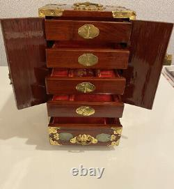 Antique Vtg Asian Chinese Wood, Brass, Jade Jewelry Box withRed Silk Lining 12