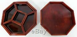 Antique/Vtg Chinese 10 Inlaid Mother of Pearl Octagon Wood Lacquer Jewelry Box