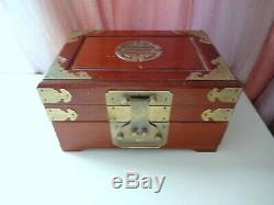 Antique Vtg Chinese Hand Made Hard Wood Huanghuali Jewelry Cosmetic Cabinet Box