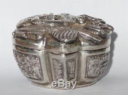 Antique chinese dragon jewelry silver box