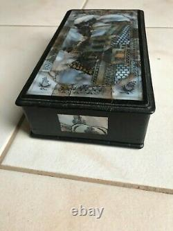 Antique chinese hard rosewood mother of pearl inlays Jewelry boxes Qing