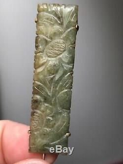 Antique circa 1900 Chinese Carved Jade Pin in Orig. Box C. Ismer & Co. Shanghai