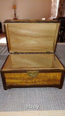 Antique gold nanmu wooden jewelry box Carved brass lock Chinese art