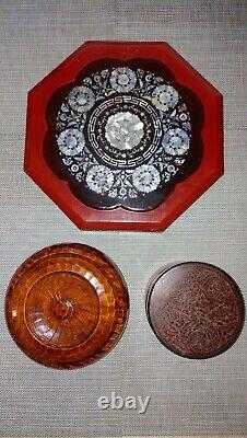Antique lacquerware Shell Jewelry Candie Wooden Assemble Trays Jar Box