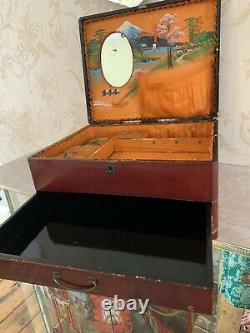Antique/victorian Chinese Theme Abalone Inlayed Sewing/jewellery Box