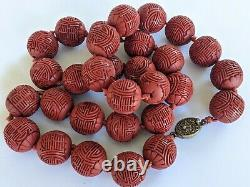 Art Deco Chinese Genuine Carved Red Cinnabar Lacquer Shou Bead Necklace w. Box
