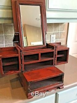 Asian Antique Chinese Cosmetic Box Wood Mirror Jewelry Vanity early 1900's