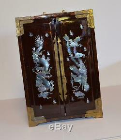 Asian /Chinese Mother Of Pearl DRAGON Inlay Lacquer Jewelry Box 13 Tall