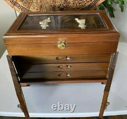 Asian Hand Carved Geisha's on Wooden Hand Painted Jewelry Chest Metal Hardware