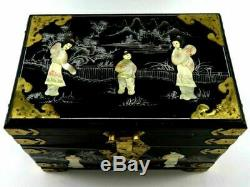 Asian Jewelry Box, Black Lacquer, Mother Of Pearl, VINTAGE, Large, Rare