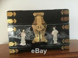 Asian Vintage Black Lacquer and Mother of Pearl Large, Rare Jewelry Box