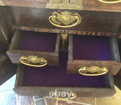 Asian Wood&Brass 5-Drawer Jewelry Chest withKey 13.5H 11W 6.5D Hand-Made Nice