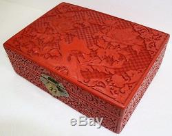 Authentic Chinese Carved Lacquer Floral Theme Jewelry Box
