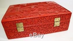 Authentic Chinese Carved Lacquer Home & Garden Theme Jewelry Box