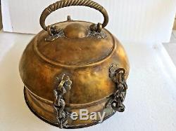 BEAUTIFUL ANTIQUE 18-19th C CHINESE H/MADE BRASS BRONZE JEWELRY SAFE BOX WithCOVER