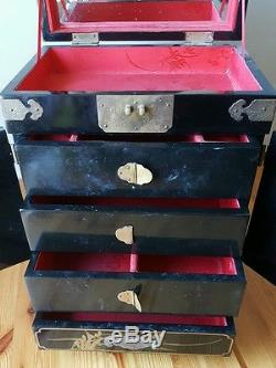 Beautiful 15 Tall Vintage Traditional Japanese Jewelry Box Mother Of Pearl