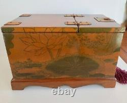 Beautiful! Antique Asian 3 Compartment JEWELRY BOX Cosmetic Box Fold Out MIRROR
