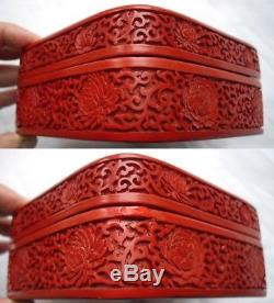 Beautiful Antique Chinese Hand Carved Red Lacquer Cinnabar Jewelry Scholars Box