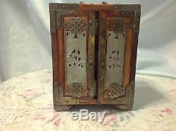 Beautiful Asian Vintage Men's Jewelry Box withJade Inserts made in Hong Kong