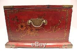 Beautiful Chinese Style Red Lacquer Box with Mirror and Drawers Brass Accents