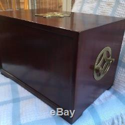 Beautiful Large Antique Chinese Rosewood Solid Brass 3 Drawer Jewellery Box