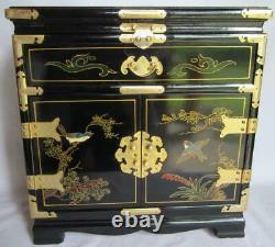 Beautiful Large Black Lacquer Asian Jewelry Box Chest