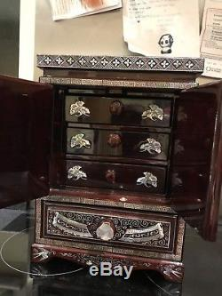 Beautiful Oriental Lacquer Jewellery Chest & Mother Of Pearl Wooden Box