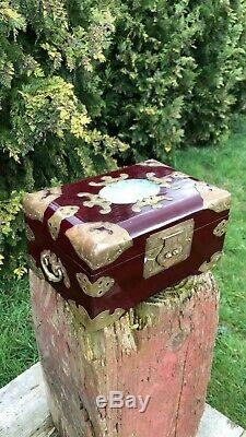 Beautiful Vintage Chinese Oriental Wood Jewellery Box With Brass & Jade Design