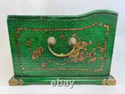 Big Chinese Chinoiserie Green Lacquer Coromandel Mirror Jewelry Chest Box Trunk