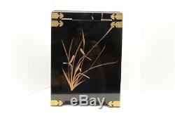 Black Lacquer With Mother of Pearl Inlaid Jewelry Box Chinese Japanese storage