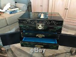 Black Lacquered Chinese Jewelry Box Wood Brass -Vintage