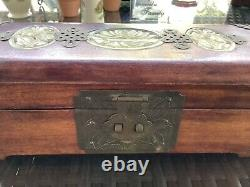 CHINESE RED WOOD JEWELRY BOX HINGED WITH INLAID CARVED JADE & LOCK WithBRASS TRIM