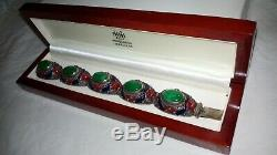 COLLECTIBLE Antique Chinese Export JADE Cabochon & ENAMEL Silver Bracelet BOXED